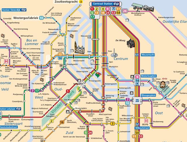 mapa transporte público Ámsterdam