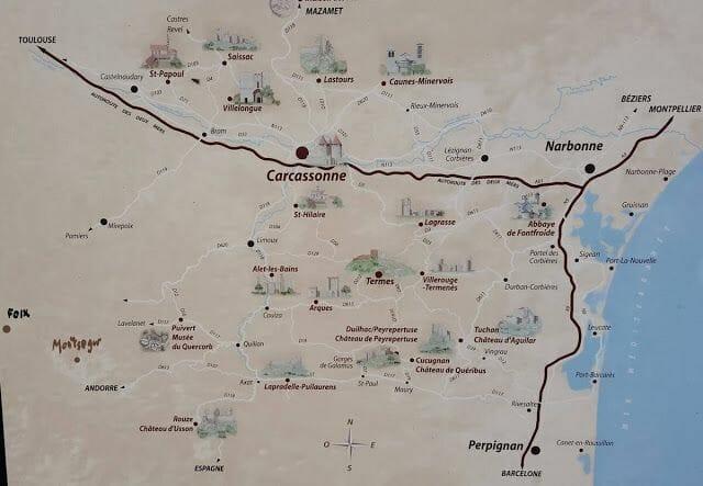 ruta castillos cátaros mapa