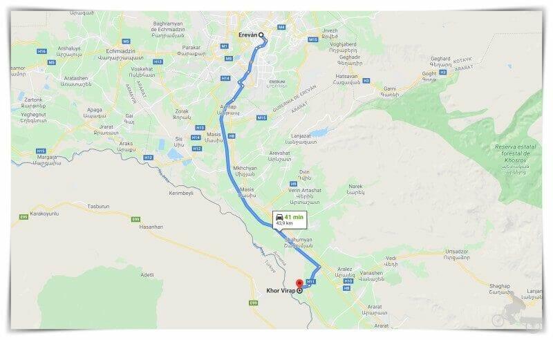 trayecto erevan monasterio khor virap