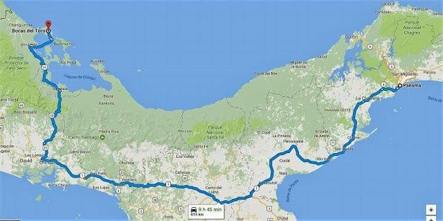 mapa Cómo ir de Bocas del Toro a Panamá