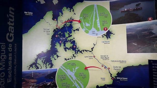 canal de panama mapa