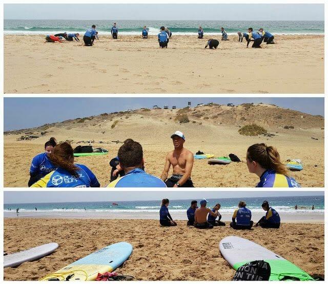 calentamiento para hacer surf