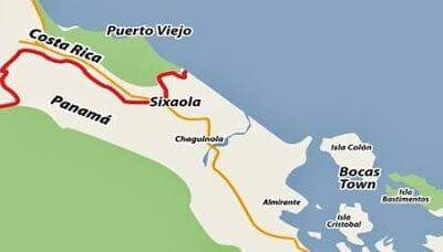 mapa Cruzar la frontera de Costa Rica a Panamá por Sixaola Guabito
