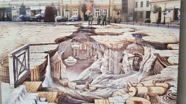 Pintura 3D del pueblo de Wieliczka