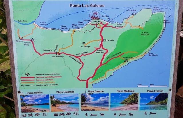 mapa con las playas que ver en Las Galeras