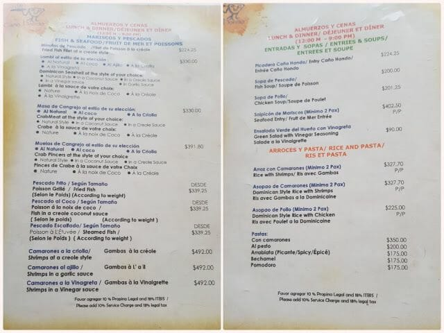 Paraíso Caño Hondo restaurante carta menu