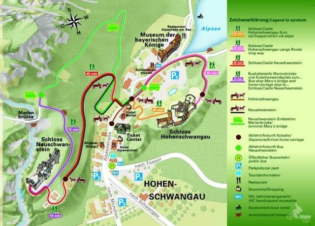 plano del Castillo de Hohenschwangau y alrededores