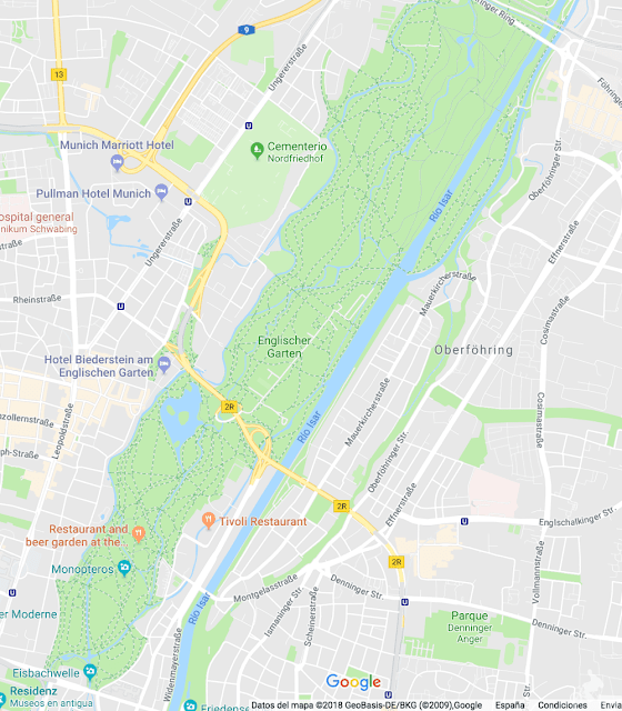Englischer Garten mapa