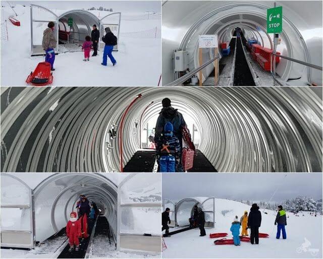 tubo cinta deslizadora pistas de esquí de Beille en el Ariège