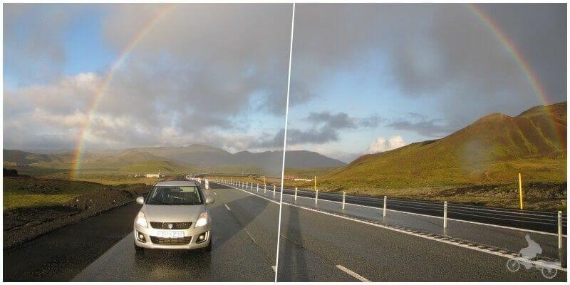 coche de alquiler en islandia fondo arco iris