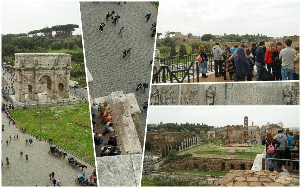 vistas foro romano y arco desde tercer anillo coliseo de Roma