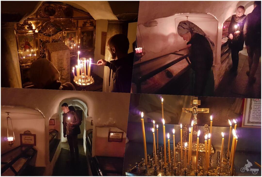 Cuevas de los monjes momificados en el monasterio de las cuevas de Kiev