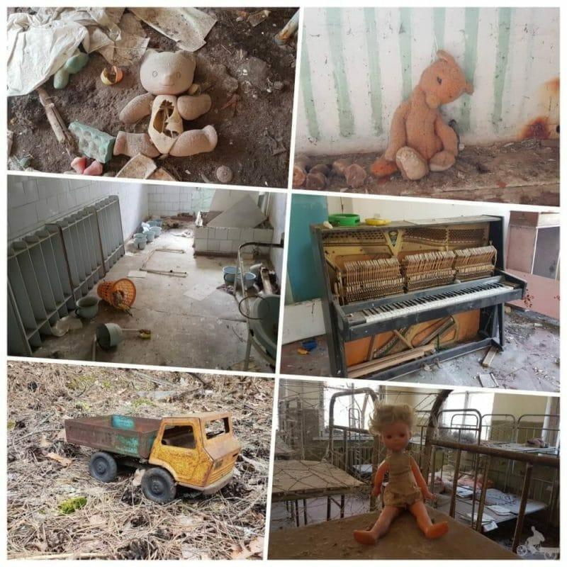 interiores edificios pripyat juguetes niños