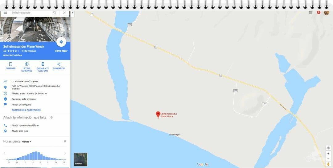mapa avion estrellado islandia