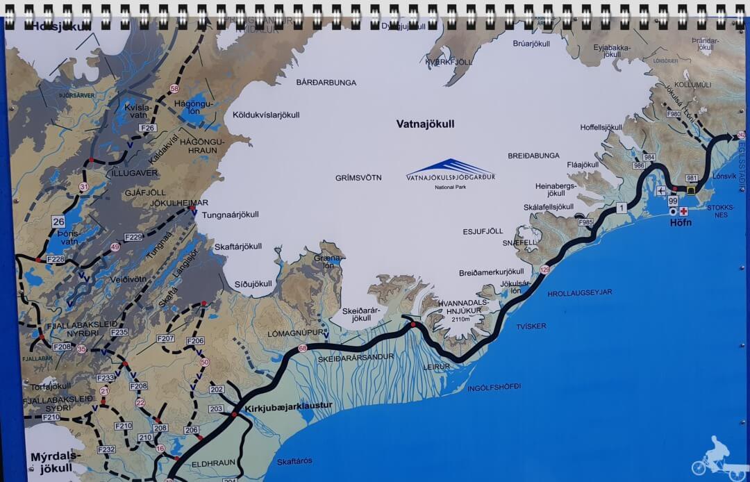 mapa vatnajokull y Parque nacional Skaftafell Islandia