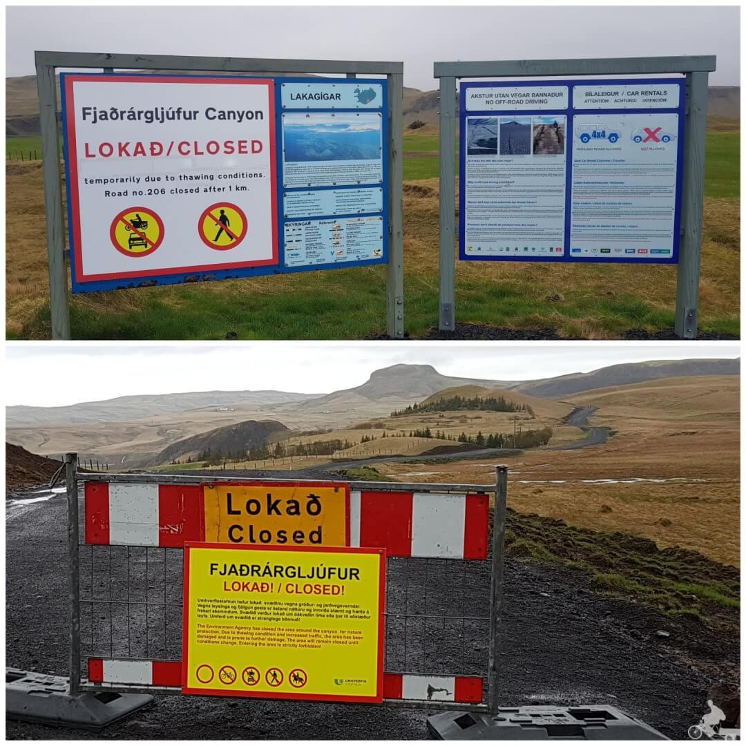 cartel cerrado Cañon Fjaðrargljufur