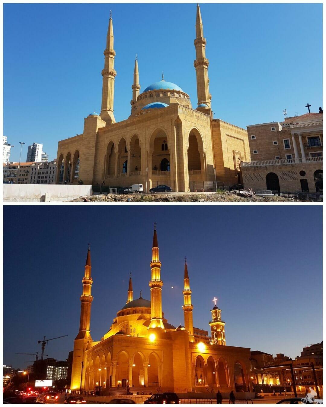 mezquita beirut día y noche