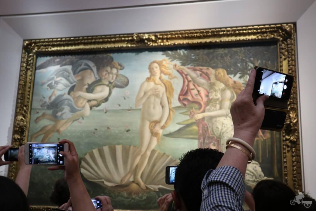 Nacimiento de la Venus de Botticelli en los Uffizi