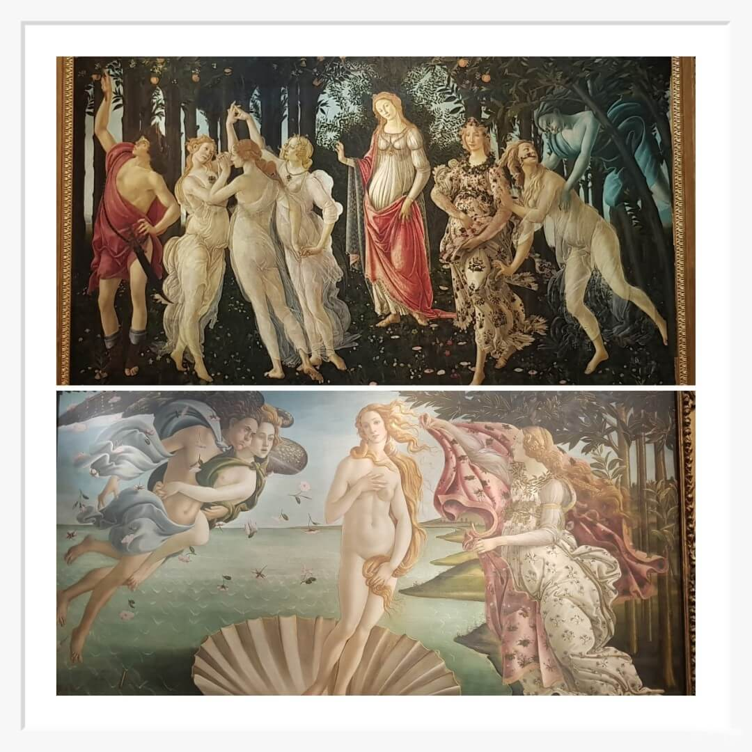 cuadros botticelli de la Primavera y el nacimiento de venus