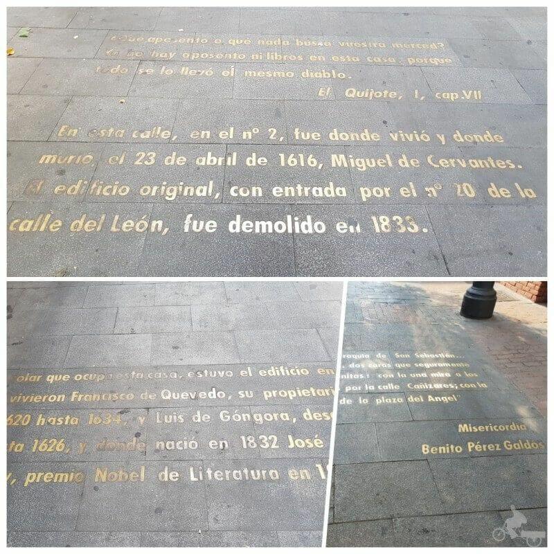 letras en el suelo del barrio de las letras Madrid