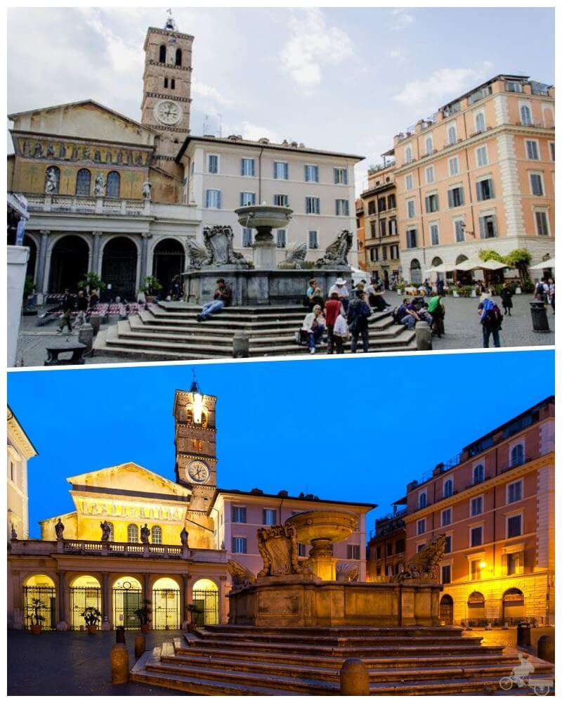 Piazza di Santa María in Trastevere en el barrio del trastevere en roma