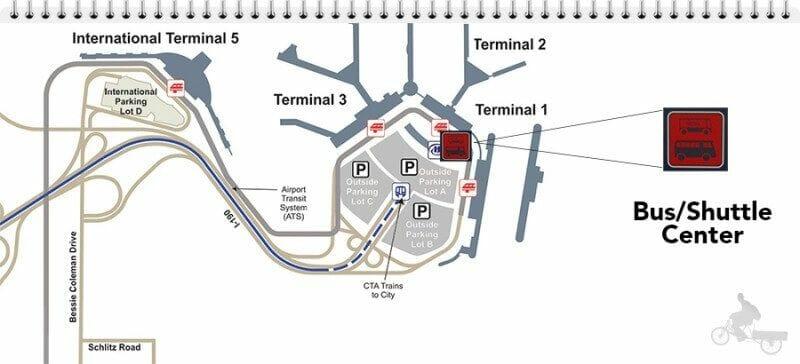 mapa bus aeropuerto de chicago al centro