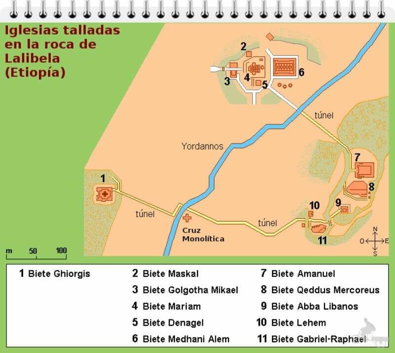 mapa iglesias lalibela etiopia