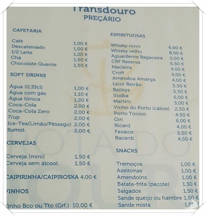 precios bebidas crucero duero oporto