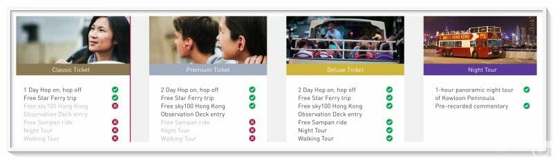 modalidades bus turistico hong kong