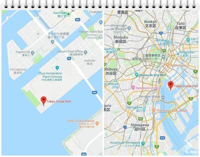 mapa puerto harumi tokio