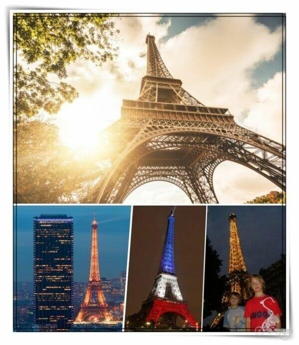 torre eiffel de día y de noche