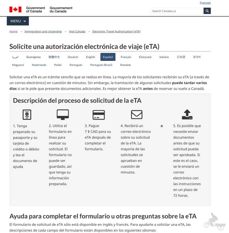 web oficial eTA Canada