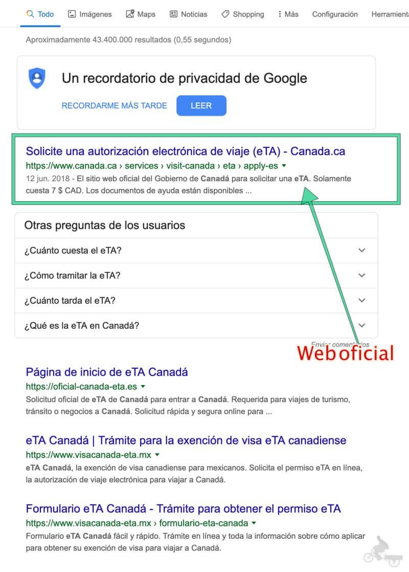 web oficial eTA canada en busqueda google