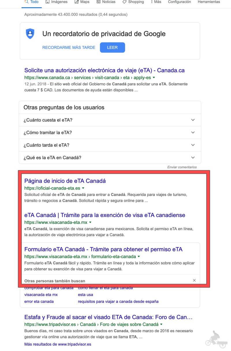 webs fraude eTA Canadá en google