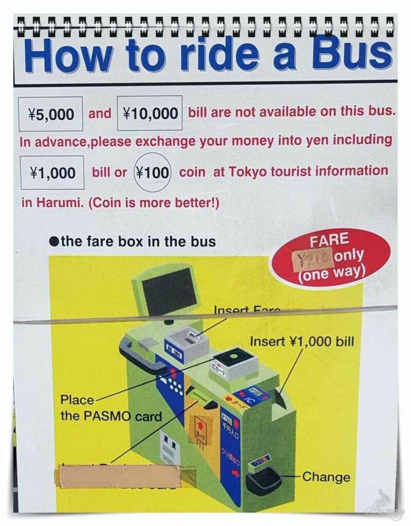 metodos pago autobús tokio