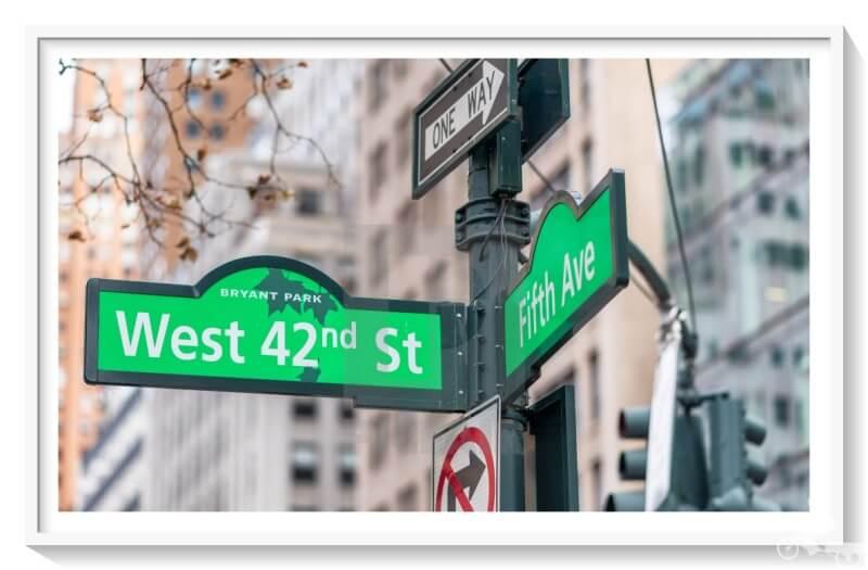 señal calle 42 con quinta avenida - 42 street fifth avenue