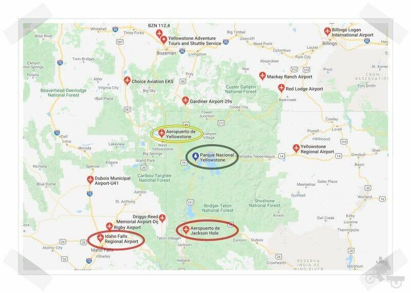 aeropuertos cerca de Yellowstone
