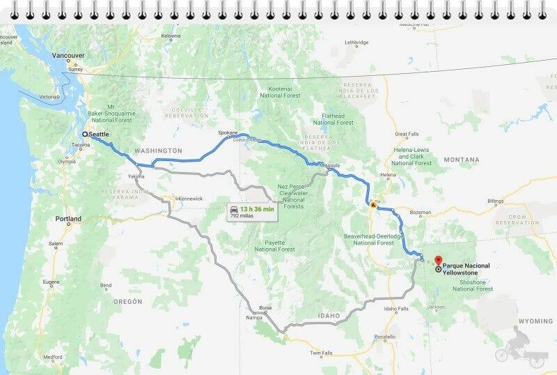 cómo llegar a Yellowstone desde seattle en coche