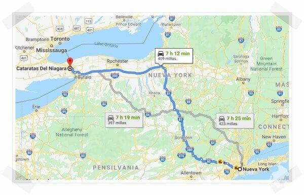 cataratas del niágara desde Nueva york por carretera en coche