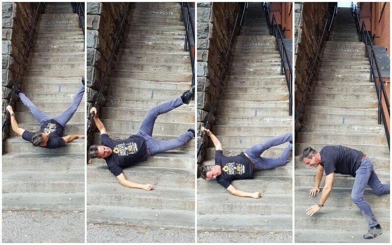 caer por escaleras del exorcista