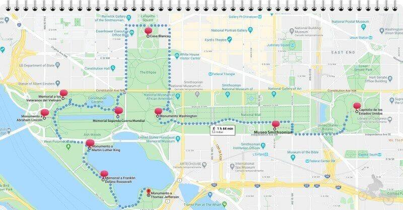 mapa recorrido national mall en excursión a Washington desde Nueva York
