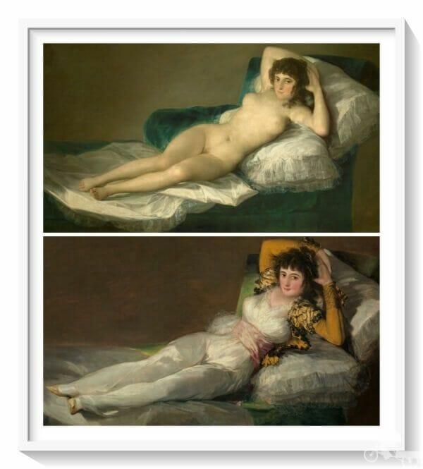 maja desnuda y vestida de Goya - mejores obras del museo del Prado