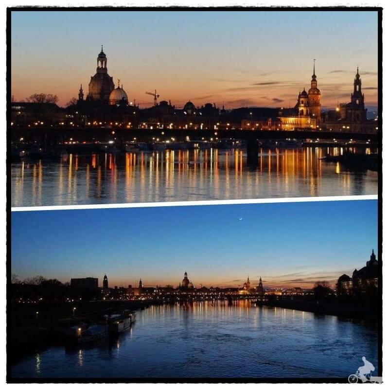 puesta de sol o sunset desde el puente Albertbrücke