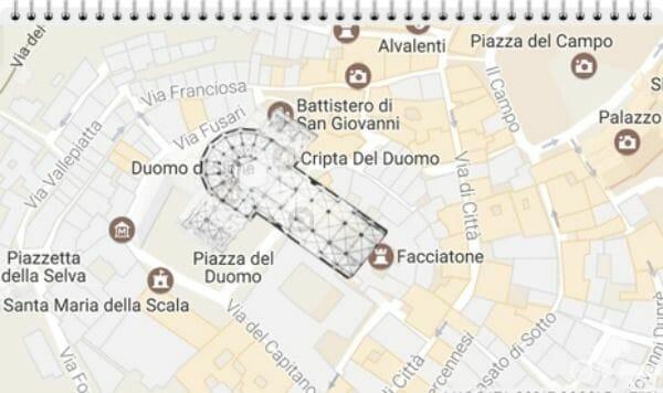 plano de la nueva catedral de Siena