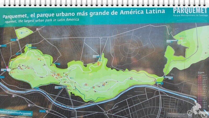 mapa parquemet del cerro de san cristóbal de Santiago