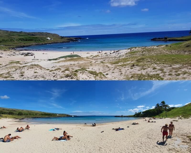 playa anakena en isla de pascua