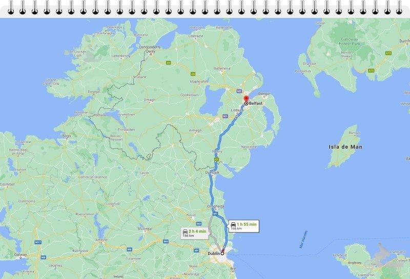 mapa ruta dublin belfast