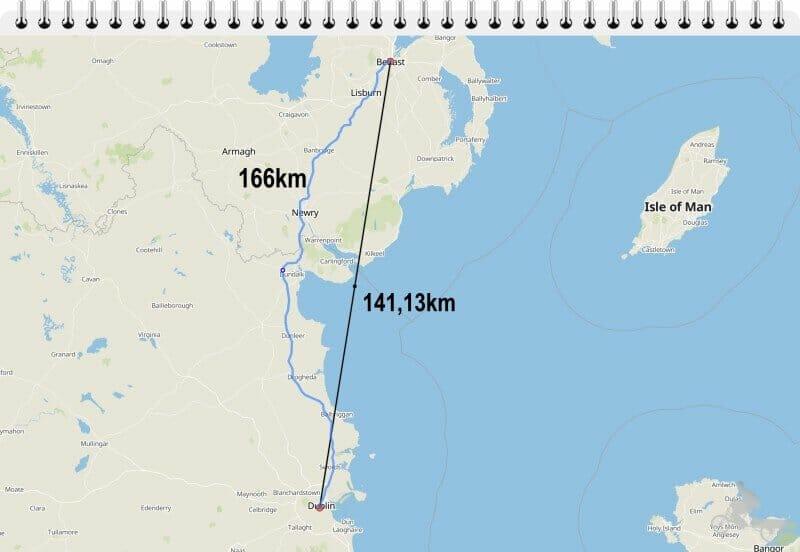 distancia belfast dublin linea recta mapa