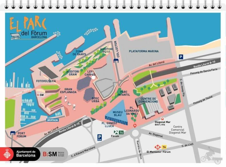 mapa parc forum barcelona