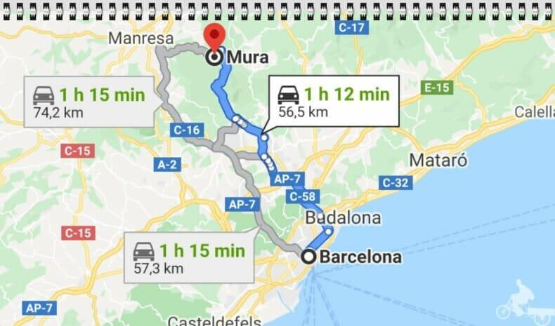 distandia de Barcelona a Mura